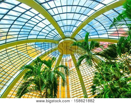 Las Vegas, United States of America - May 05, 2016: The palm trees at the Mirage Hotel and Casino on Strip in Las Vegas, Nevada. The hotel was openend in Nov 1989 as first Mega resort in Las Vegas.
