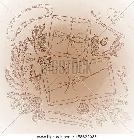 Collection of gift package drawn in line art style. Vector design elements isolated on the vintage background in ocher colors.