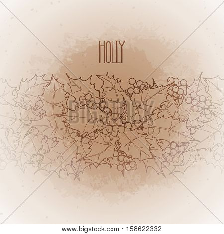 Graphic leaves and berries drawn in line art style. Vector endless border isolated on the vintage background in ocher colors.