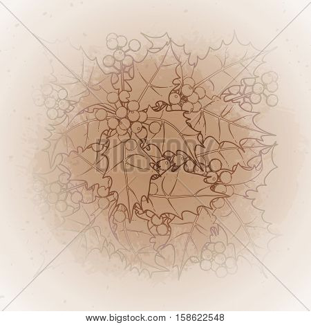 Graphic leaves and berries drawn in line art style. Vector design elements isolated on the vintage background in ocher colors.