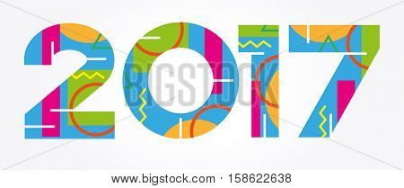 Creative happy new year 2017 design. New Year background.  The file is saved in the version 10 EPS.