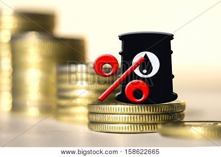 Barrel for oil and the percentage on a background of money . The concept of changes in the prices of petroleum products .