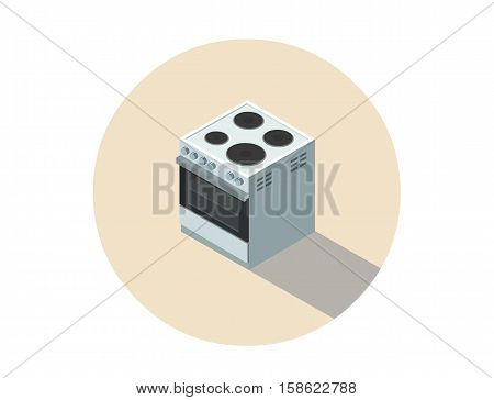 Vector isometric illustration of electric cooker, stove, 3d flat design kitchen equipment, home constructor, modern interior and game object.