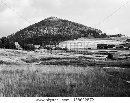 Green forested conical hill, bright yellow summer grass and clear blue sky in Jizera Mountains, Jizerka village and Bukovec Mountain, Czech Republic . Black and white image.