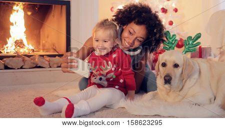 Happy family selfie portrait at Christmas
