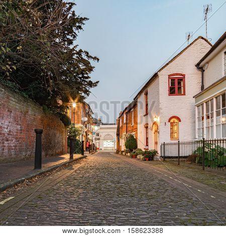 Cobbled street in central Farnham, Surrey (UK)
