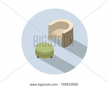 Vector isometric modern beige armchair with pouf, 3d flat interior design element, comfortable furniture illustration for stores advertising.