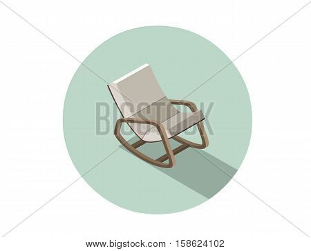 Vector isometric modern rocking chair, 3d flat interior design element, comfortable furniture illustration for store.