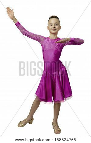 portrait of young girl in purple dancing dress standing in stance isolated over white