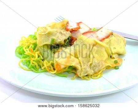 chinese food wonton and noodle for traditonal gourmet dumpling image