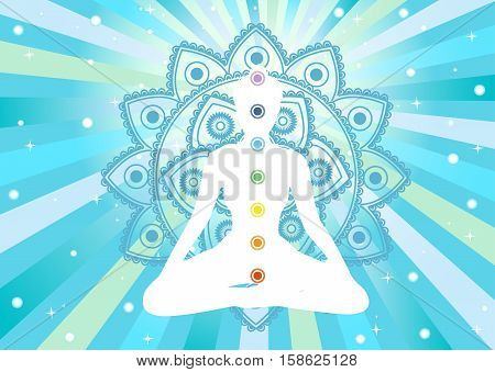 white woman meditating silhouette with colored chacras and mandala, vector