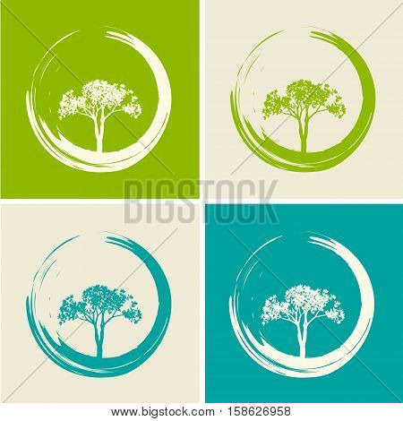 Vector Trees and Zen Circles Set Illustration