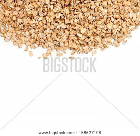 Healthy oat flakes on white background. Copy space. Top view high resolution product.