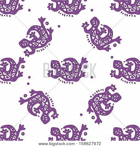 Seamless pattern with lizards on white background