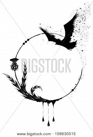 vector round frame with thistle and raven in black and white