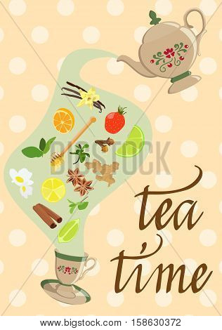 Vector picture tea with a natural additives