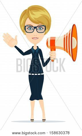 business woman with Megaphone. Stock vector illustration