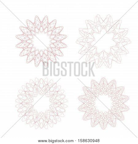 Guilloche decorative rosette element. Digital watermark. It can be used as a protective layer for certificate voucher banknote money design currency note check ticket reward etc.