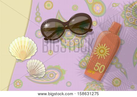 Beach travel to sea. Sunblock shells sunglasses. Vector. Illustration