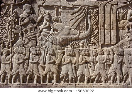 Carving on temple wall - Angkor - Cambodia
