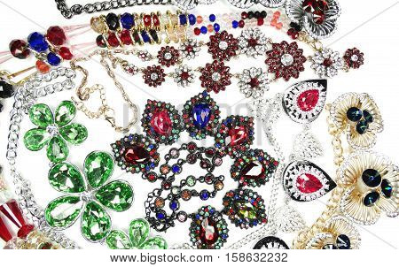 jewelry as fashion background necklace with bright crystals set