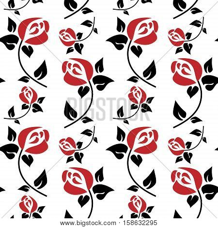 Seamless Floral Pattern With Bright Red Roses