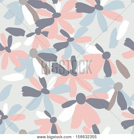 Seamless pattern with a flowers in pastel colors