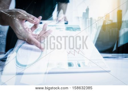 Double Exposure Of Businesswomen Giving Pen For Your Signature On Clipboard Copy Space,mock Up.