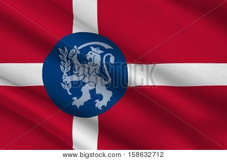 Flag of Fredericia in Southern Denmark Region. 3d illustration