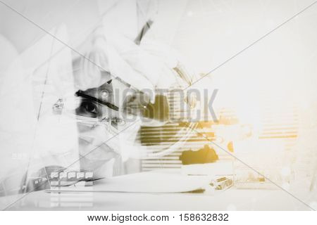 Double Exposure Of Scientist Are Certain Activities On Experimental Science Like Mixing Chemicals, U