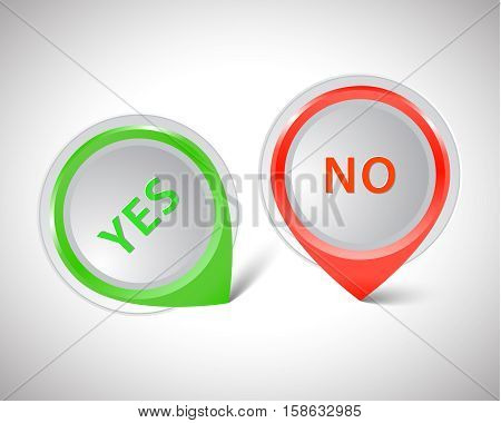 Vector pointer green Yes red No, illustration