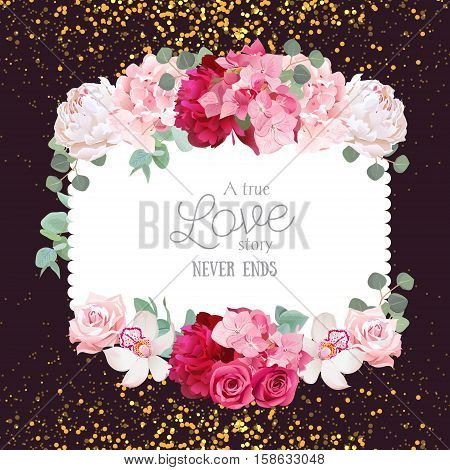 Floral vector design square card with golden glitter dark background. White and burgundy red peony pink roses and hydrangea flowers orchid eucalyptus leaves. All elements are isolated and editable.