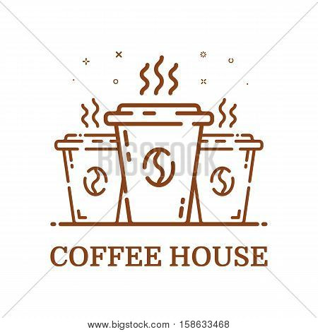 Vector illustration of emblem concept coffee house in line style. Linear brown 3 cups. Icon Design outline object. Coffee shop label, logo, icon.