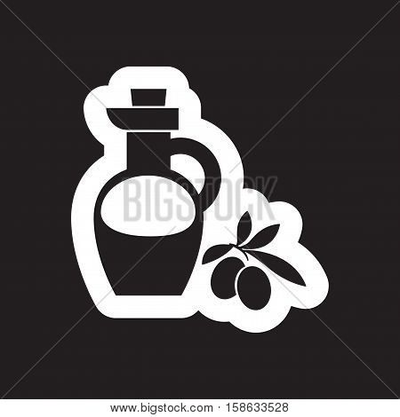 Flat icon in black and white style olive oil