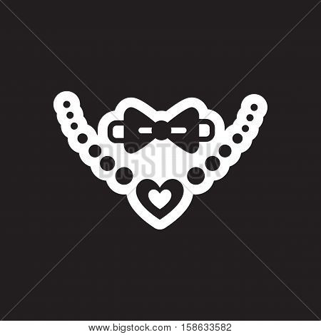 Flat icon in black and white style tie necklace