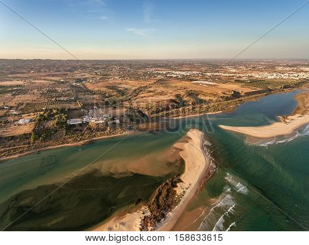 Aerial. Amazing view from the sky, village Cacela Velha and Ria Formosa. Portugal