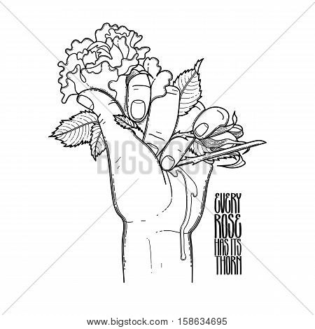 Graphic bleeding hand grasping wild rose. Vector card isolated on the white background. Coloring book page design for adults and kids. Tattoo art.