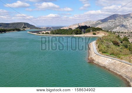 water reservoir of  El Chorro point in Andalusia,Spain