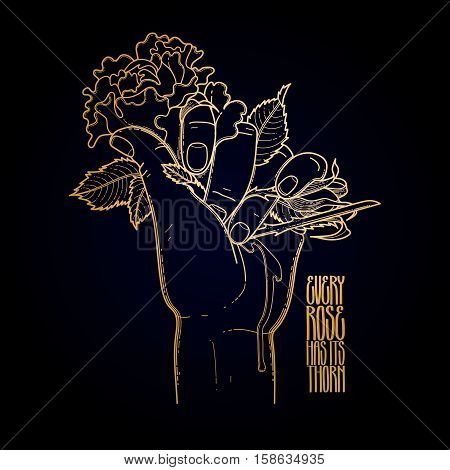 Graphic bleeding hand grasping wild rose. Vector card isolated on black background in golden colors.