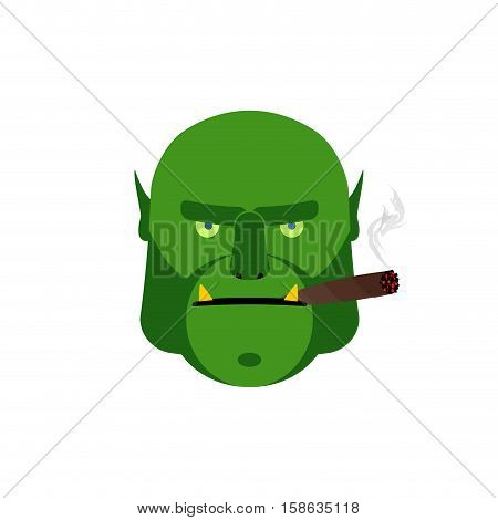 Angry Ogr With Cigar. Aggressive Green Monster Isolated