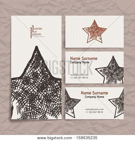 Set of vector design templates. Brochures in random colorful style. Vintage frames and backgrounds. Business card with star element. Hipster style.