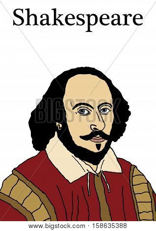 A vector illustration of the Elizabethan writer William Shakespeare.