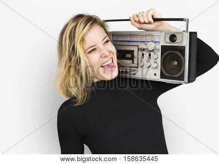 Female Holding Boombox Listen Music Concept