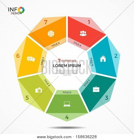 Colorful Infographic Template With 7 Options Circle Chart