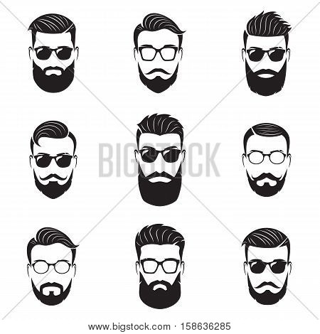 Set of vector bearded men faces hipsters with different haircuts mustaches beards. Hipster silhouettes emblems icons labels.