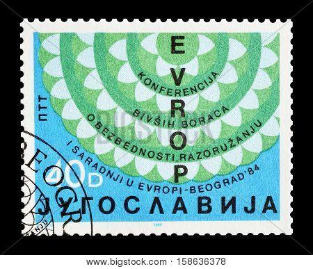 YUGOSLAVIA - CIRCA 1986 : Cancelled postage stamp printed by Yugoslavia, that promotes Veterans organization.