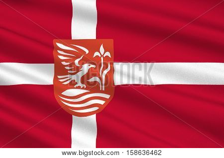 Flag of Kolding in Southern Denmark Region. 3d illustration
