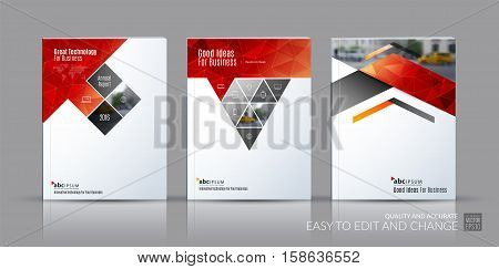 Business vector set. Brochure template layout, cover design annual report, magazine, flyer in A4 with rectangles, triangles, diagonal house window, arrow for real estate, business, building. Abstract