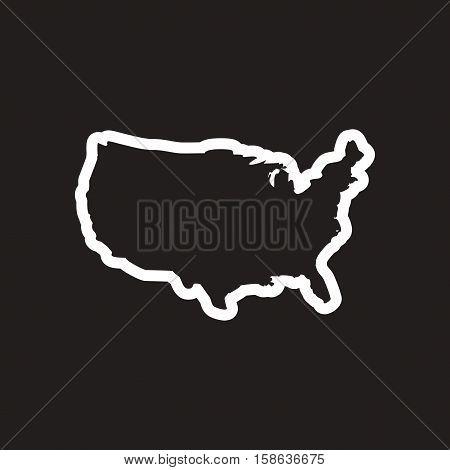 stylish black and white icon map of USA
