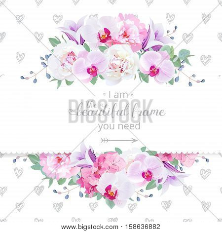 Wedding floral vector design horizontal card. Pink and white peony purple orchid hydrangea violet campanula flowers frame.